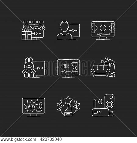 Broadcast Services Chalk White Icons Set On Black Background. Viewing Episodes. User Account. Sports