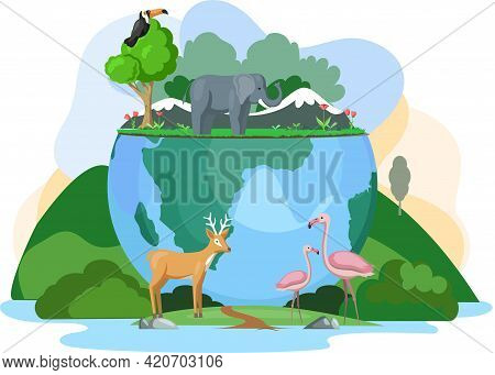 World Animal Day Banner. Biodiversity, Conservation And Environmental Protection Concept. Birds And