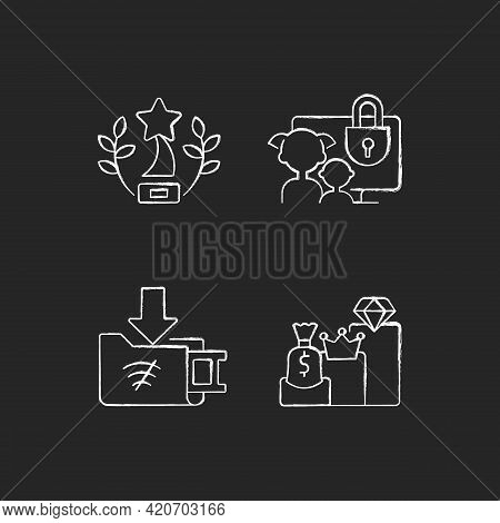 Broadcast Services Chalk White Icons Set On Black Background. Award-winning Content. Parental Contro