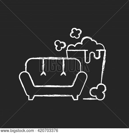Tv Series Streaming Chalk White Icon On Black Background. Mini-series. Watching Tv With Popcorn Buck