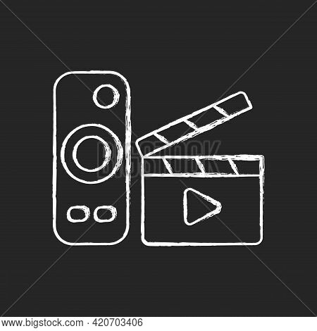 Movies Streaming Chalk White Icon On Black Background. Moving Picture On Television. Tv Shows Online
