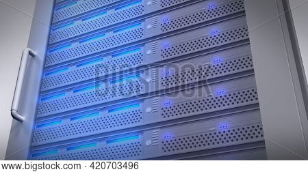 Composition of close up of blue lit computer server. global data processing, technology and computing concept digitally generated image.