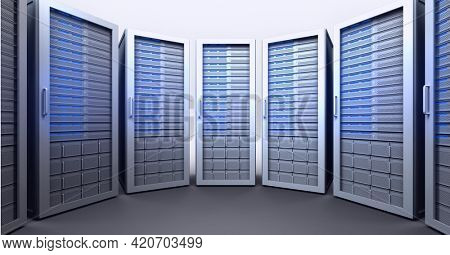 Composition of row of blue lit computer servers. global data processing, technology and computing concept digitally generated image.