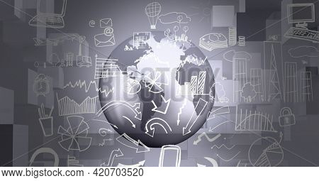 Composition of business and finance icons over globe. global finance, business, ideas and thinking concept digitally generated image.