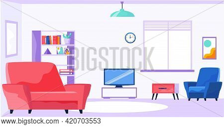 Living Room For Relaxing, Watching Tv And Spending Time. Interior Design Of Apartment With Sofa And