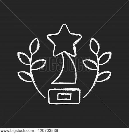 Award-winning Content Chalk White Icon On Black Background. Award-winning Movies On Video Streaming