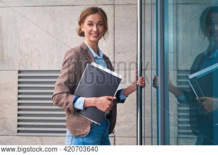 Businesswoman Successful Woman Business Person Open Door Small Business New Opportunities Caucasian