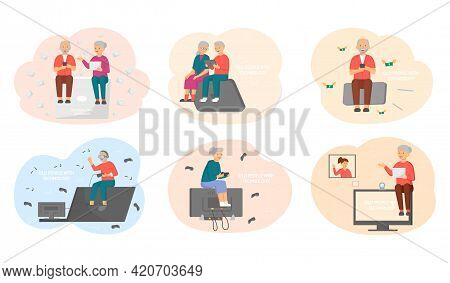 Old People Play Video Game. Modern Senior People Gadgets. Oldster Education Computer. Old Progressiv