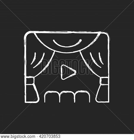 Premiere Chalk White Icon On Black Background. Watching Streaming Movies And Tv Series. Online Event