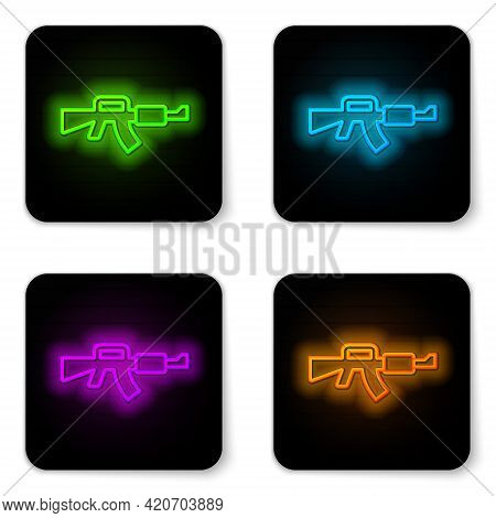 Glowing Neon Line M16a1 Rifle Icon Isolated On White Background. Us Army M16 Rifle. Black Square But