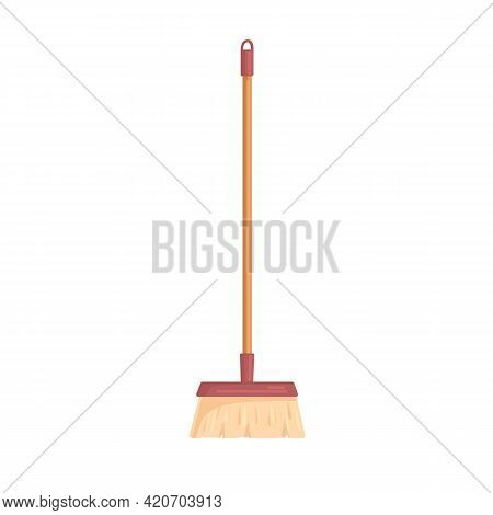 Brush Bristle On Long Stick For Floor Cleaning. Realistic Manual Sweeping Tool. Household Appliance