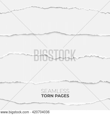 Torn Page Seamless Texture. Paper Edge Backdrop, Grunge Rip Papers Stripes. Broken Craft Clean Sheet