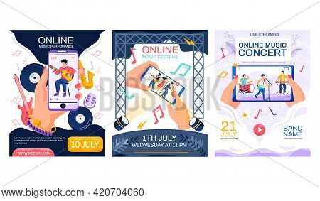 Set Of Illustrations About Online Music Concerts And Festivals. Video With Musicians Performing Song