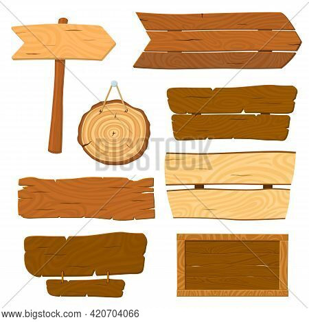 Isolated Wooden Planks. Cartoon Planked Sign, Wood Board Banners. Hanging Signboard, Old Rustic Pane