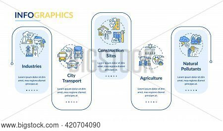 Ambient Air Pollution Vector Infographic Template. Industry, Construction Sites Presentation Design
