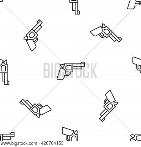 Grey Line Pistol Or Gun Icon Isolated Seamless Pattern On White Background. Police Or Military Handg