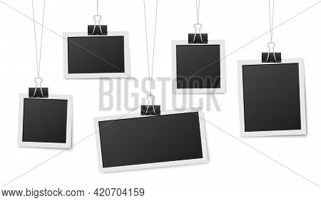 Frames Hang On Clips. Photo Frame Hanging, Photos Clothespin And Rope. Retro Blank Templates For Pho