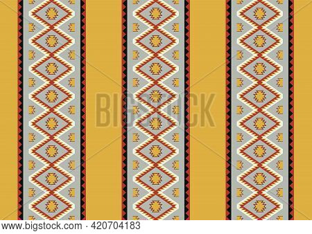 Ethnic Boho Geometric Ornament. Mid Century Pattern. Vector Seamless Native Tribal Mexican Pattern.