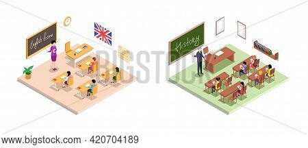 School Education Isometric With Teacher And Pupil At Lesson. Learning Process In Classroom. High Sch