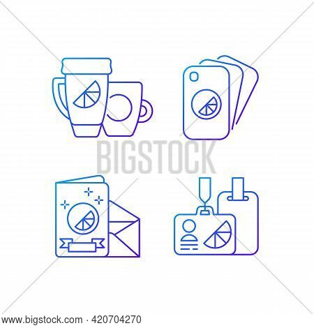 Company Branding Materials Gradient Linear Vector Icons Set. Branded Conference And Meeting Id Badge