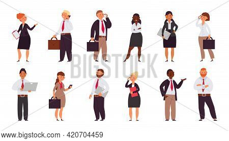 Cartoon Business People Characters. Office Corporate Group, Coworking Persons. Men Workers Wear Suit