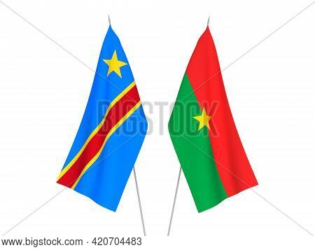 National Fabric Flags Of Democratic Republic Of The Congo And Burkina Faso Isolated On White Backgro