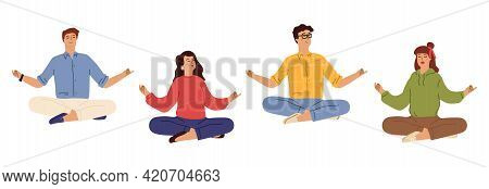 Business People Meditation. Happy Men Women In Casual Wear Meditating. Relaxed Concept, Office Free