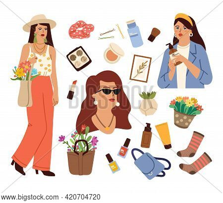 Female Life Set. Love Yourself, Girl With Eco Shopping Bag And Flowers. Cosmetic Icons, Floral Bouqu