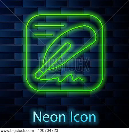 Glowing Neon Line Declaration Of Independence Icon Isolated On Brick Wall Background. Vector