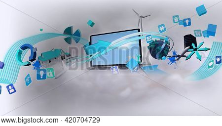 Composition of digital environment icons over laptop on white background. global networks, environment and digital interface concept digitally generated image.
