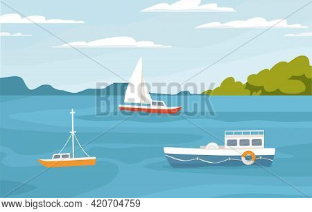 Peaceful Marine Landscape With Sailboats, Ships Floating In Sea. Passenger Sail Boats, Yachts In Oce