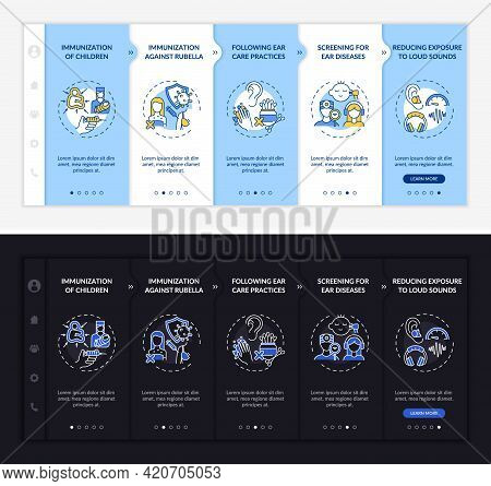 Hypoacusis Prevention Onboarding Vector Template. Responsive Mobile Website With Icons. Web Page Wal