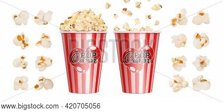 Realistic Popcorn. Cinema Snack, Red Stripes Bowl For Popcorns. Isolated Giant Paper Cup With Fast F