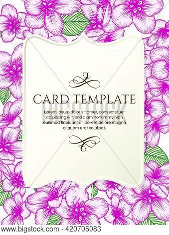Vector Botanical Floral Wedding Invitation Elegant Card Template. Pink Apple Flowers And Beige Vinta