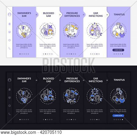 Ear Infectious States Onboarding Vector Template. Responsive Mobile Website With Icons. Web Page Wal