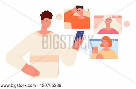 Internet Bullying. Cyber Fear, Social Media Danger Effects. Depression Aggressive Teenager Behavior.