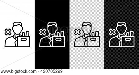 Set Line Dismissed Sad Young Man Carrying Box With His Personal Belonging Leaving His Job Icon Isola