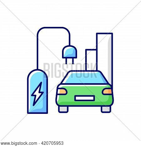 On Street Residential Ev Charging Rgb Color Icon. Smart Charging Stations For Electromobiles On Stre