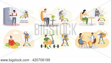 Set Of Illustrations About Healthy Lifestyle. Sport, Yoga, Exercise, Gymnastic, Proper Nutrition, He