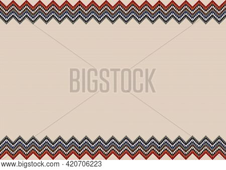 Ethnic Tribal Pattern Background With Copy Space For Text. Native Indian Navajo Border Ornament. Blu