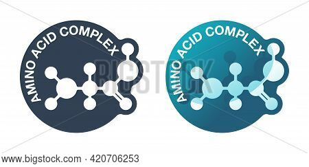 Amino Acid Complex Emblem - Organic Compounds Monomers That Make Up Proteins And Used In Food Indust