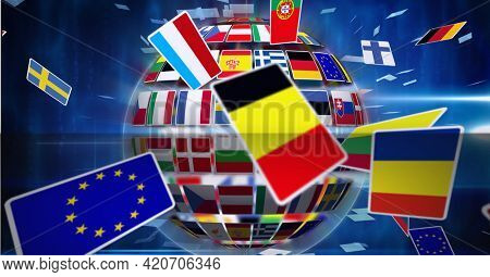 Flags flying over globe formed with flags over blue background. global sports and networking concept digitally generated image.