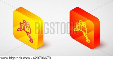 Isometric Line Shutdown Of Factory Icon Isolated On Grey Background. Industrial Building. Yellow And