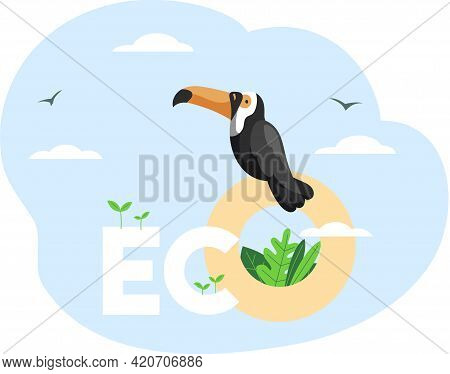 Eco Friendly, Save Environment, Nature Conservation. Toucan On Inscription Eco On Abstract Backgroun