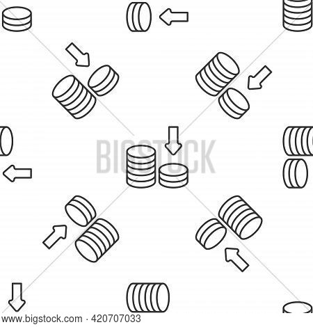 Grey Line Dollar Rate Decrease Icon Isolated Seamless Pattern On White Background. Cost Reduction. M