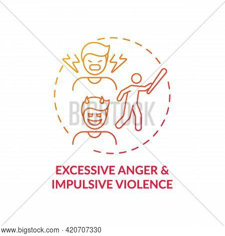 Excessive Anger And Impulsive Violence Red Gradient Concept Icon. Mental Health, Psychological Issue