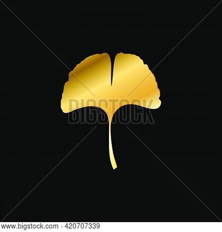Ginkgo Or Gingko Biloba Golden Leaf. Nature Botanical Gold Vector Illustration, Decorative Metal Gra
