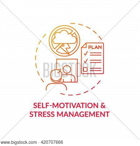Self Motivation And Stress Management Red Gradient Concept Icon. Personal Growth And Skill Improveme