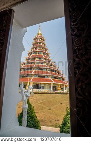 Chaing Rai, Thailand - March 6 ,2021 : Thai-chinese Temple - Wat Hyua Pla Kang Is One Of The Most Fa