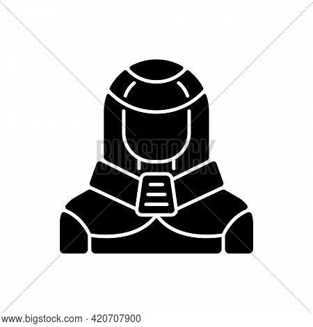 Protection Suit Black Glyph Icon. Robotic Person, Cyborg. Human In Cyberpunk Costume. Futuristic Tec